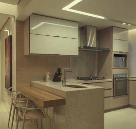 Bancada em GRANITO Branco Siena na cozinha